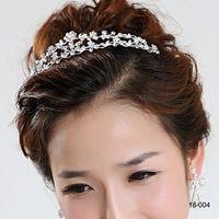 18004 Clssic cheveux Diadèmes En stock pas cher diamant strass mariage Couronne cheveux bande Tiara nuptiale de bal du soir Coiffes de bijoux