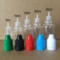 Botella vacía de sello y prueba de niños coloridos de la prueba de manipullo colorido 5ml 10ml 15ml 20ml 30ml e botellas de plástico líquido de plástico con puntas largas