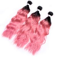 물결 파란 머리 미가공 인도 레미 버진 사람의 머리카락 3Bundles 두 톤 다크 루트 핑크색 머리카락 번들 젖은 및 물결 번들
