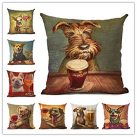 Retro Animal Cute Dog Printed Cushion Cover Decorative Sofa Throw Pillow  Car Chair Home Decor Pillow Case Almofadas Cojines