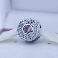 Fits Pandora Charms Bracelet 100% 925 sterling silver beads Radiant Splendor, Blush Pink Crystal & Clear CZ NEW DIY women jewelry wholesale