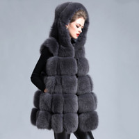 Luxury Faux Fur Vest 2018 NEW Exquisite Faux Pelliccia di Volpe Donne Gilet Con Cappuccio Di Lusso Fake Fur Ccoats F0235 S-7XL Plus Size