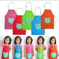 ماء لطيف الاطفال المئزر الكرتون الضفدع مطبوعة اللوحة الطبخ أكمام واسط المريلة للأطفال مع المواد البلاستيكية