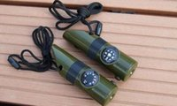 500 Stück 7 in 1 Multifunktions Military Survival Kit Lupe Pfeife-Kompass-Thermometer LED-Licht