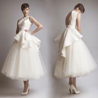 Atemberaubende A-Line Backless Brautkleider Juwel Hals Tee Länge Applique Brautkleid