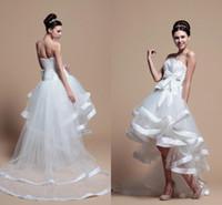 짧은 전면 및 긴 웨딩 드레스 아가씨 민소매 레이스 업 백 디자인 Organza Tulle High Low Bridal Gowns 플러스 사이즈 결혼식 DR