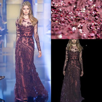 2016 Elie Saab Burgendy Custom Made Evening Dresses Sheer Crew Neck Long Sleeves Beaded Sequins Appliques Column Long Prom Gowns BO9834