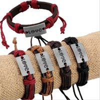 مزيج حار بيع أساور اليدوية إنفينيتي الأزياء سحر الحب نمط عاشق 4 لون أساور جلدية مجوهرات