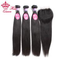 Malaysisches Reines Haar mit Verschluss Gerade Menschliches Haar Weave-Spitze-Verschluss mit Bündeln 4pcs / lot Eliten Haarprodukte mit Schließung