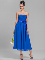Taglie forti A-line senza spalline in chiffon-lunghezza elegante abito da damigella d'onore spose abito da cameriera
