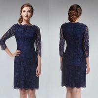 진한 파란색 칼집 간단한 Bridemaid 드레스 Bateau 3/4 긴 소매 들러리 드레스 명예 가운의 하녀 짧은 드레스 레이스 지퍼