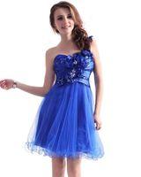 Robes de bal bleu Moden 2015 une épaule appliques organze une ligne retour fermeture éclair perlée robes de bal courte robe de soirée