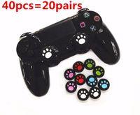 40pcs = 20 pares de silicona lindo analógico Thumbstick Covers Casos Joystick Thumb Grips gorras Cat Paw para PlayStation PS4 / Xbox One PS4