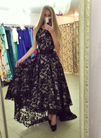 Latest Design Short Front Long Back Black Lace Prom Dresses ...
