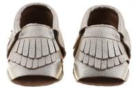 nuevo cuero genuino bebé mocasines de punta abierta mocasines de bebé borlas botines botines de cuero de vaca infantil 2layer borla zapatos para caminar