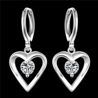 تصميم رومانسي 925 فضة تشيكوسلوفاكيا الماس القلب استرخى أقراط الأزياء والمجوهرات الجميلة زفاف / خطوبة هدية مجانية