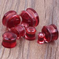 120pcs mix 6-16mm flytande röd blodkött tunnel öronpropp piercing kropp smycken piercing