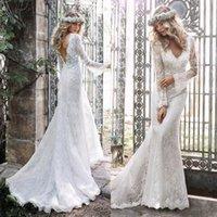 2021 White 3D Flower Lace Mermaid Backless Bridal Gowns V Neck Long Sleeves Sweep Train Applique Wedding Dress Robe de mariée