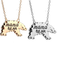 Gold Silver Tone Personalized Mama Bear Necklace Mother Bear...