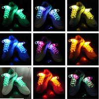 Lacci della scarpe del led della fibra ottica della fibra ottica di trasporto i lacci delle scarpe al neon del neon della luce forte lampeggiante lampeggiante lampeggiante all'ingrosso! 200 pz / lotto (100 paia)
