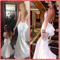 Spaghetti Mermaid Blumenmädchen Kleid Weiß Little Kids Formelle Kleid Mutter Und Tochter Chiffon Formales Abschlussball-partei-kleider Backless Günstige 2015