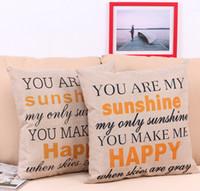 """Günstige Kissenbezug """"Du bist mein Sonnenschein"""" Cotton Linen Schiefen Kissen Dekokissen Abdeckungen Pillowslip Fall Good Design 45 * 45 cm"""
