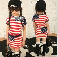 Zomer nieuwe stijl meisjes kleding outfits korte mouw t-shirt + rok kinderen 2 stks set kinderen kostuum gestreept pak kind set 5set / lot HR366