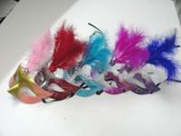 Preciosa pluma máscara de diamantes de imitación máscara veneciana partido de regalo de navidad decoración de la boda favor de la boda novedad 10 unids / lote