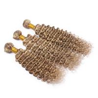 Nuevo producto Dos tonos de color Ash Brown y Blonde 613 Deep Wave Extensiones de cabello 3Pcs Piano Color 8 613 Deep Curly Hair 3Bundles