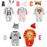 Groothandel Pasgeboren Baby Kleding Leuke Dier Modellering Peuter Kostuum Katoen Lange Mouw met Hoed Baby Jumpsuit 3 stks / partij 0-3age AB186