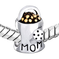 Mom charms waterling flower pot Big Hole European Spacer Bea...