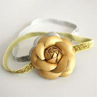 Glitter Cuoio Feltro fiore delle neonate Hairbands argento e rosa principessa partito Fasce nuovo arrivo floreali 10pcs / lotto Trasporto libero