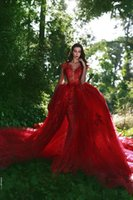 2018 Red New Arrival Mermaid Evening Dresses Long Train V Ne...