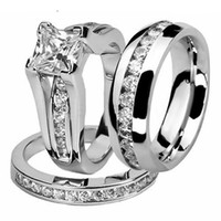 Zijn en haar paar ring set mode-sieraden 10kt wit goud gevuld roestvrijstalen topaas kristal vrouwen mannen bruids ring set geschenkmaat 5-13