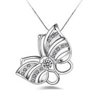 الشحن مجانا جودة عالية أزياء فضية 925 wthie مجوهرات الماس 925 الفضة قلادة عيد الحب هدايا العيد الساخن 1675
