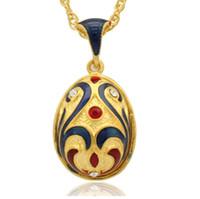Gesichts-Make-up in Peking Opera Faberge Egg Charms Handgefertigte Emaille Kristall Osterei Medaillon für russische Halskette