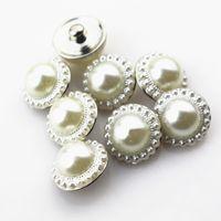 Hot Koop 20 stks / partij Iimitatie Parel Knoppen DIY Glas 18mm Snap Buttonsd Charms DIY BraceletBangles Ginger Snap Ketting Sieraden