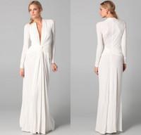 Venda quente uma linha de decote em v até o chão chiffon branco vestidos de noite de manga comprida vestido de festa à noite elegante frete grátis