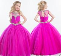 Tulle Plum vestido de baile Pageant Dresses 2020 Rachel Allan Sheer Neck Pedrinhas frisada Crianças Formal Flor Menina especial do vestido de casamento HY1140