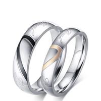 여성과 남성에 대한 도매 패션 사랑 반지 결혼 반지 티타늄 스테인레스 스틸 쥬얼리 사랑의 하트 커플 반지 약혼 반지