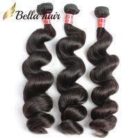 Brasilianskt hår Virgin Remy Human Hair Extensions Weft 3pcs / Lot Naturlig färglös våg Hela i bulk Drop Shipping Natural Color