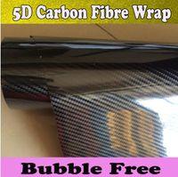 لمعان للغاية 5D ألياف الكربون الألياف الفينيل التفاف الفيلم لسيارة التفاف مع الإصدار الهواء لامع أغطية ألياف الكربون 1.52x20 متر 5x67ft لفة
