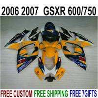 Ajuste perfeito para SUZUKI GSXR600 GSXR750 2006 2007 K6 Kit de Feira Personalizado GSXR600 / 750 06 07 Laranja Blue Corona Fairings Set F60Q