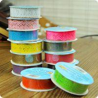 1pcs heta spetsrull DIY Washi Paper Dekorativ klibbig pappersmaskband Självhäftande 9 färger