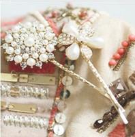 2015 accesorios del pelo de la manera perla flor redonda pinza de pelo Barrettes vendas para las mujeres F053
