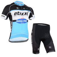 2015 ETIXX QUICK STEP PRO TEAM BLUE Q34 짧은 소매 사이클링 여름 여름 사이클링 로프 CICLISMO + 반바지 3D 젤 패드 사이즈 : XS-4XL