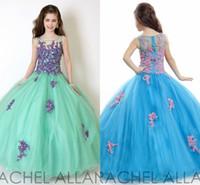 Turquoise Rachel Allan Girl's Pageant Robes Patchwork Dentelle Organza Robe de boule de boule Fleur Robes pour Wedding Party Housse Hy0897
