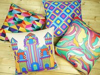 exclusive colorful abstract geometry pop art pillow case dec...