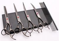 """5 Adet Takım 7 """"440C Özelleştirilmiş Logo Profesyonel Saç Makas Makas Tarak + Kesme Makası + İnceltme Makas + UPDown Kavisli Makaslar C3002"""