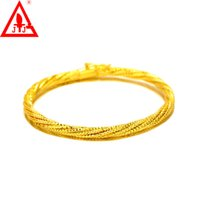 24K Yellow Gold Filled Bangles 4MM High Quality New Style Co...